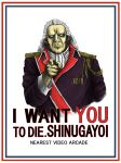 dodonpachi highres i_want_you long_hair military parody poster solo syaa white_hair