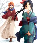 1girl bad_id black_hair blue_eyes blush couple female footwear gift girasolem highres himura_kenshin japanese_clothes k_hearts kamiya_kaoru kimono long_hair male orange_hair ponytail purple_eyes red_hair red_ribbon redhead ribbon rurouni_kenshin sandals scar scarf snow snowing socks tree valentine