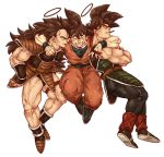 age_difference bandana bandanna bardock black_hair boots brother crossed_arms death dragon_ball dragon_ball_z dragonball dragonball_z family father father_and_son grin halo hug jumping long_hair male monkey_tail mouth_hold mugi3siki muscle open_mouth raditz siblings simple_background smile son son_gokuu spiked_hair spiky_hair tail white_background wristband