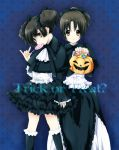 aruki black black_hair blue_background brown_eyes gothic_lolita halloween hirasawa_ui jack-o'-lantern jack-o'-lantern k-on! lolita_fashion multiple_girls ponytail pumpkin short_hair suzuki_jun trick_or_treat twintails