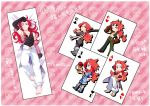 bad_id barefoot black_gloves blue_eyes card card_(medium) cards cosplay dakimakura genis_sage genis_sage_(cosplay) gloves gotou_(pixiv37128) hand_on_hip headband hips kendama long_hair looking_back male over_shoulder pants playing_card red_hair redhead shirt shorts smile sunglasses sword tales_of_(series) tales_of_symphonia tales_of_vesperia v vest weapon weapon_over_shoulder wink yuri_lowell yuri_lowell_(cosplay) zelos_wilder