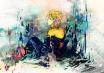blonde_hair blue_eyes cloak demyx from_behind kingdom_hearts male solo tokidoki_tidori undressing