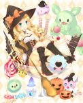 1girl asymmetrical_clothes asymmetrical_clothing blonde_hair blue_eyes boots breasts candy cattleya_(pokemon) cleavage elbow_gloves food gloves gothita halloween hat highres ice_cream joltik litwick lollipop long_hair moe_(hamhamham) munna pokemon pokemon_(creature) pokemon_(game) pokemon_black_and_white pokemon_bw reuniclus saliva single_glove solosis witch_hat woobat