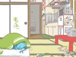 aqua_hair blanket cat_costume cellphone chibi door futon hatsune_miku kitchen magazine magnet maruku_naru_(vocaloid) microwave nekomura_otako phone power_strip refrigerator refrigerator_magnet rice_cooker tatami towel vocaloid