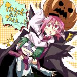 2girls animal_ears antennae asphyxiation blush cape carrying choke choking failure foaming_at_the_mouth green_hair halloween headlock jack-o'-lantern jack-o'-lantern kuroneko_no_toorimichi leg_lock multiple_girls mystia_lorelei pink_eyes pink_hair plaid plaid_background pumpkin pumpkin_hat short_hair shoulder_carry sitting sitting_on_person strangling touhou trick_or_treat turn_pale wriggle_nightbug wrist_cuffs yellow_background