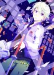 blonde_hair ivan_karelin jacket katana letterman_jacket male migu paper purple_eyes purple_jacket short_hair solo sword tiger_&_bunny violet_eyes weapon