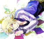 blonde_hair ivan_karelin jacket letterman_jacket male paper purple_eyes purple_jacket short_hair solo tamaco tiger_&_bunny violet_eyes