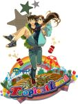 1girl ;d amusement_park aruta1412 bad_id balloon blue_eyes blush breasts brown_hair carrying character_name coat couple detective_conan footwear happy highres kudou_shin'ichi kudou_shinichi long_hair meitantei_conan mouri_ran open_mouth pants princess_carry rainbow running shirt shoes shorts smile sneakers socks star wink