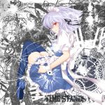 apron bad_id blue_dress blue_legwear braid broken_glass clock dress glass izayoi_sakuya maid_headdress nekokotei red_eyes silver_hair smile solo the_embodiment_of_scarlet_devil thigh-highs thighhighs touhou wrist_cuffs zettai_ryouiki