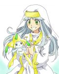 crossover green_eyes habit hands_clasped index inoichi jirachi long_hair lowres nun pokemon safety_pin smile to_aru_majutsu_no_index