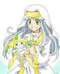 crossover green_eyes habit hands_clasped index inoichi jirachi long_hair lowres nun pokemon safety_pin smile to_aru_majutsu_no_index