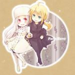 ahoge blonde_hair boots chibi fate/stay_night fate/zero fate_(series) formal green_eyes hat irisviel_von_einzbern long_hair multiple_girls pant_suit pantyhose ponytail red_eyes saber shio_kuzumochi suit thigh_boots thighhighs white_hair