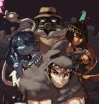 2boys 3girls android animal_ears bare_shoulders beowulf_(skullgirls) big_band black_dress black_hair blood blue_hair blue_skin bone breasts cape cat_ears cleavage dark_skin dated detached_collar detached_sleeves dress eliza_(skullgirls) fedora flame gas_mask hair_over_one_eye halterneck hat head_out_of_frame hood junkpuyo large_breasts leviathan_(skullgirls) multiple_boys multiple_girls no_pupils pelt robo-fortune short_hair side_ponytail skullgirls smile squigly_(skullgirls) stitched_mouth striped_sleeves tiara v wink zombie