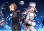 ahoge black_gloves black_legwear blonde_hair business_suit coat dhiea emiya_kiritsugu excalibur fate/stay_night fate/zero fate_(series) full_moon fur_hat gae_dearg gloves green_eyes hat irisviel_von_einzbern long_hair moon multiple_girls necktie night open_mouth pantyhose polearm ponytail red_eyes saber silver_hair spear star_(sky) sword weapon white_hair