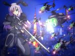 bipod bolt_action building city gun gunship gunships helicopter helicopters junkei kawasaki_oh-1 military night reisen_udongein_inaba rifle scope sniper_rifle touhou uh-60_blackhawk weapon