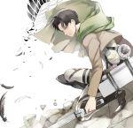 1boy 9room black_eyes black_hair boots eren_jaeger feathers jacket levi_(shingeki_no_kyojin) shingeki_no_kyojin short_hair solo three-dimensional_maneuver_gear