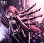 blade katana long_hair md5_mismatch multiple_arms original red_hair resized solo sword weapon yellow_eyes zen_(jirakun)