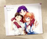 1boy 2girls arm_on_shoulder blue_eyes brown_eyes brown_hair hair_ornament ikari_shinji katsuragi_misato light_brown_hair long_sleeves looking_at_viewer modern_afro multiple_girls neon_genesis_evangelion open_mouth photo_(object) purple_hair rebuild_of_evangelion school_uniform shikinami_asuka_langley shirt short_sleeves smile souryuu_asuka_langley violet_eyes watch watch