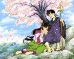 1girl barefoot cherry_blossoms couple gio_(artist) hime_cut inuyasha japanese_clothes kimono kirara_(inuyasha) lap_pillow long_hair looking_at_viewer low-tied_long_hair miroku official_style petals sango shakujo sitting sky watermark yokozuwari yukata