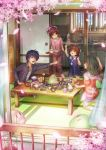 1boy 3girls antenna_hair blue_hair bow bowl brown_hair clannad cup food fork furukawa_nagisa furukawa_sanae hair_bow highres ibuki_fuuko jacket kneeling lif multiple_girls okazaki_tomoya open_mouth petals plate rice short_hair sink sitting sweatdrop table