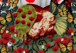 anthony_(madoka_magica) butterfly butterfly_wings facial_hair flower gertrud_(madoka_magica) mahou_shoujo_madoka_magica mustache red_rose rose tapa_(tapa) wings witch's_labyrinth witch's_labyrinth
