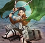 1boy ascot black_hair cape jacket levi_(shingeki_no_kyojin) shingeki_no_kyojin solo sword three-dimensional_maneuver_gear toto_kururira weapon wire