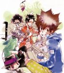 animal black_hair book bottle brown_eyes brown_hair closed_eyes couch cow_print eyes_closed formal gokudera_hayato hat horns i-pin jewelry katekyo_hitman_reborn katekyo_hitman_reborn! lambo necktie reborn sawada_tsunayoshi short_hair silver_hair smile studying suit table yamamoto_takeshi