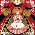 alice_(wonderland) alice_in_wonderland bad_id blue_eyes bow breasts bridal_gauntlets cleavage clubs diamond diamonds dress hair_bow head_out_of_frame heart l_hakase multiple_girls orange_hair paint paintbrush playing_card_theme puffy_sleeves queen_of_hearts romaji short_hair short_sleeves spade thorns translated vines