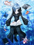 aosasami blue_eyes blue_hair book cloak fish gloves hair_over_one_eye kingdom_hearts male solo zexion