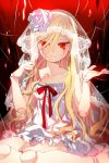 blonde_hair c.seryl collarbone doll_joints flat_chest flower frills long_hair looking_at_viewer lowres red_eyes ribbon rose ruffles sitting solo sword_girls veil