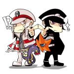 2boys black_hair blue_eyes cape chibi crossover decarabia devil_summoner eelektross grey_eyes hat holster kudari_(pokemon) kuzunoha_raidou multiple_boys outstretched_arm pointing pokemon pokemon_(game) pokemon_black_and_white pokemon_bw shako_cap shikayu shin_megami_tensei simple_background sparkle surprised white_hair
