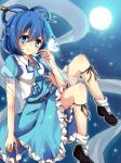 1girl aqua_eyes blue_hair butterfly dress full_moon hair_ornament hair_rings hair_stick highres kaku_seiga kazucha moon night night_sky shawl sky smile solo star_(sky) starry_sky touhou vest