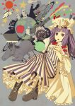 1girl bad_id book boots cannon crescent cross-laced_footwear hat horse landmark long_hair moai ogino_(oginogino) patchouli_knowledge petticoat planet purple_eyes purple_hair solo striped touhou train vertical_stripes violet_eyes