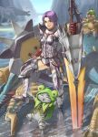 capcom deviljho drooling earrings fangs felyne grin happy jewelry jinouga monster_hunter monster_hunter_portable_3rd open_mouth pointing purple_eyes purple_hair shield silver_sol_(armor) smile sword tan_taka thigh-highs thighhighs violet_eyes water weapon