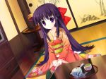 game_cg japanese_clothes long_hair mitha purple_eyes purple_hair violet_eyes yuyukana yuyuzuki_ako
