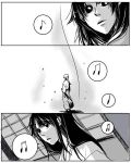 comic himura_kenshin japanese_clothes kamiya_kaoru kimu_(risatoko) long_hair monochrome musical_note rurouni_kenshin sword weapon
