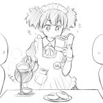 apron blush coffee doughnut failure k-on! lowres maid_headdress monochrome reading solo suzuki_jun twintails waitress wancho wrist_cuffs
