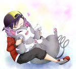 1boy arani_(aranonituke) boy gold_(pokemon) gold_(pokemon)_(remake) hat heart hug pokemon pokemon_(creature) pokemon_(game) pokemon_gsc pokemon_heartgold_and_soulsilver pokemon_hgss purugly smile