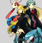 buzz green_eyes grey_hair hair_over_one_eye jewelry metagross milotic pokemon pokemon_(game) pokemon_dppt pokemon_rse ring shirona_(pokemon) tsuwabuki_daigo yellow_eyes
