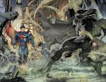 background batman black_hair cape city dc_comics destruction epic fighting gas mask night red_eyes superman watermark weapon