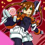 aile alternate_costume bodysuit brown_hair candy gloves green_eyes halloween horns jack-o'-lantern jack-o'-lantern lollipop pumpkin rockman rockman_zx shigehiro_(artist) tongue twintails