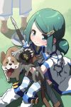 blush crest dog fingerless_gloves gauntlets gloves green_eyes green_hair hair_ornament hairclip lena_(zoal) on_ground open_mouth ponytail rotori sheath sheathed shiba_inu shield sitting solo striped striped_legwear sword sword_girls tears thigh-highs thighhighs tongue weapon youngest_knight