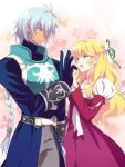 1girl armor belt blonde_hair blue_eyes braid claire_bennett couple dadaume dress gloves half_updo long_hair pants pink_background puffy_sleeves purple_dress shirt silver_hair smile tales_of_(series) tales_of_rebirth veigue_lungberg