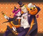 1girl :d black_legwear blonde_hair blue_eyes boots bunbee candy cape dress formal grin halloween happy hat height_difference jack-o'-lantern jack-o'-lantern maeashi open_mouth orange_background orange_dress orange_legwear pants pink_hair pointy_ears precure pumpkin purple_eyes short_hair short_twintails smile striped striped_legwear suit thigh-highs thighhighs top_hat twintails two_side_up violet_eyes wand witch_hat yes!_precure_5 yumehara_nozomi