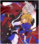 belt black_gloves blazblue blonde_hair brothers coat colored_eyelashes gloves green_eyes heterochromia jin_kisaragi kisaragi_jin male multiple_boys ragna_the_bloodedge red_eyes serious siblings spiked_hair spiky_hair uzukinoko white_gloves white_hair