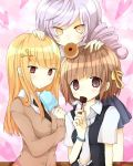 bangs blunt_bangs blush bracelet breasts brown_eyes brown_hair cornelia_(umineko) dlanor_a_knox dress_shirt drill_hair food gertrude holding jewelry long_sleeves multiple_girls necktie pleated_skirt popsicle shirt skirt sweater umineko_no_naku_koro_ni white_hair yellow_eyes