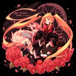 blazblue blonde_hair bow character_name dress flower gii long_hair nago rachel_alucard red_eyes red_rose ribbon rose ryolove smile twintails valkenhayn_r_hellsing wolf