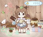1girl abacus animal_crossing animal_ears bad_id brown_eyes brown_hair doubutsu_no_mori futatsuiwa_mamizou glasses leaf leaf_on_head nintendo nintendo_ead paper parody pince-nez pot raccoon_ears raccoon_tail shop short_hair shovel solo south114 sparkle tail tanukichi_(doubutsu_no_mori) tanukichi_(doubutsu_no_mori)_(cosplay) team_shanghai_alice touhou worktool