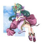 chiki_(fire_emblem) circlet fire_emblem fire_emblem:_monshou_no_nazo fire_emblem:_shin_ankoku_ryuu_to_hikari_no_tsurugi green_eyes green_hair hair_ribbon long_hair n_(ruff) payot pointy_ears ponytail ribbon scarf shoes skirt solo
