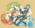 blue_hair bowtie brothers corn_(pokemon) cup dent_(pokemon) drinking fire green_hair gym_leader hair_over_one_eye kicking kinari male multiple_boys panpour pansage pansear pod_(pokemon) pokemon pokemon_(game) pokemon_black_and_white pokemon_bw red_hair redhead short_hair siblings teacup tray tree waiter water